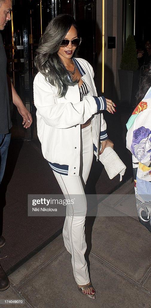 Rihanna arriving at Cirque le Soir Club, Soho on July 19, 2013 in London, England.