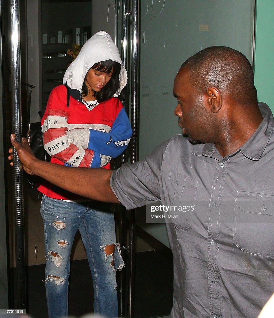 Rihanna at Nobu Park Lane restaurant on March 9, 2014 in London, England.