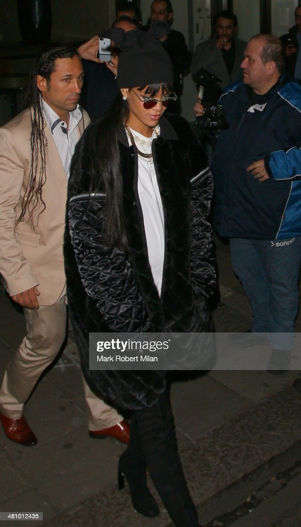Rihanna at Novikov restaurant on March 27, 2014 in London, England.