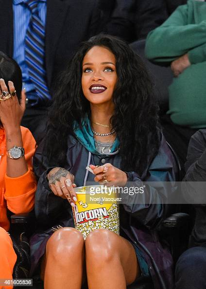 Rihanna attends a basketball game between the Cleveland Cavaliers and the Los Angeles Lakers at Staples Center on January 15 2015 in Los Angeles...