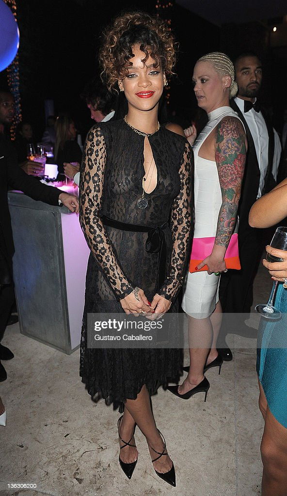 Rihanna attends as Sean 'Diddy' Combs Hosts CIROC The New Year 2012 At Private Miami Estate on December 31, 2011 in Miami Beach, Florida.