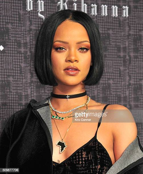 Rihanna attends FENTY x PUMA by Rihanna at 23 Wall Street on February 12 2016 in New York City