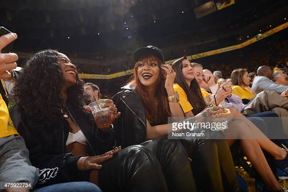 Rihanna attends Game One of the 2015 NBA Finals between the Cleveland Cavaliers and Golden State Warriors on June 4 2015 at Oracle Arena in Oakland...