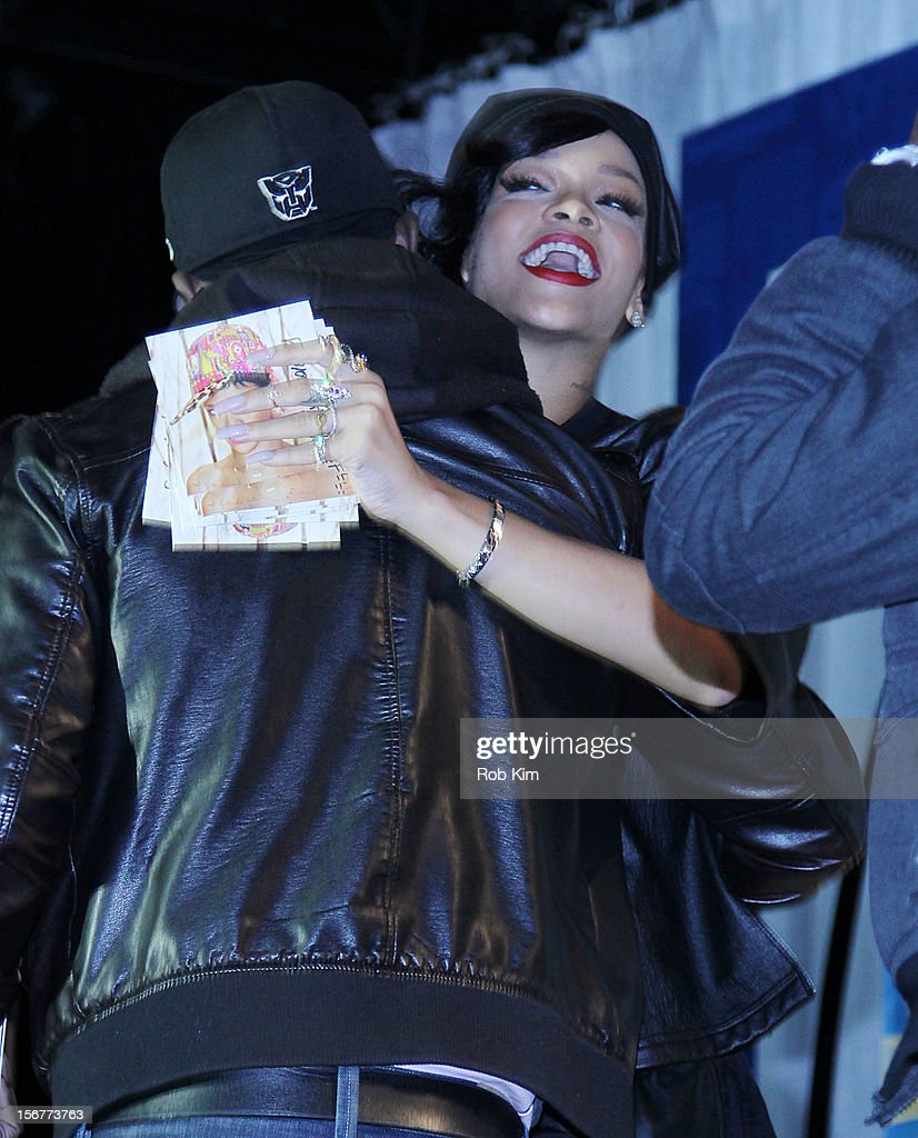 Rihanna attends her 'Unapologetic' record release fan meet and greet at Best Buy Theater on November 20, 2012 in New York City.