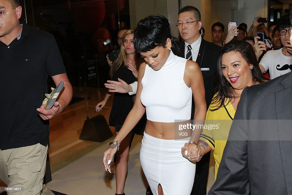 Rihanna attends M.A.C store opening ceremony at Elements shopping mall on September 15, 2013 in Hong Kong, Hong Kong.