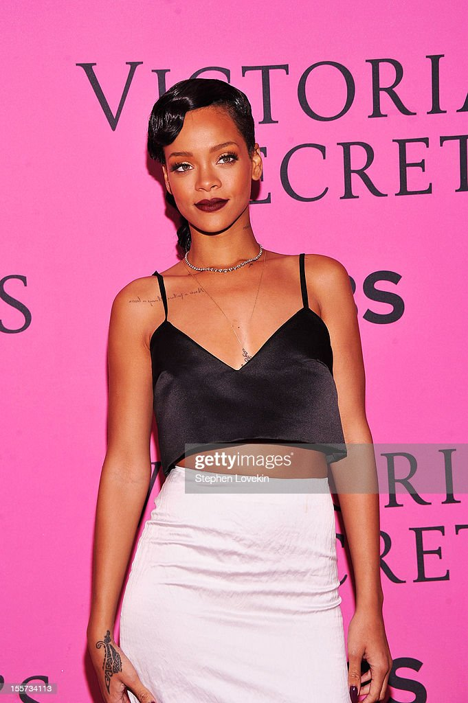 <a gi-track='captionPersonalityLinkClicked' href=/galleries/search?phrase=Rihanna&family=editorial&specificpeople=453439 ng-click='$event.stopPropagation()'>Rihanna</a> attends the 2012 Victoria's Secret Fashion Show at the Lexington Avenue Armory on November 7, 2012 in New York City.