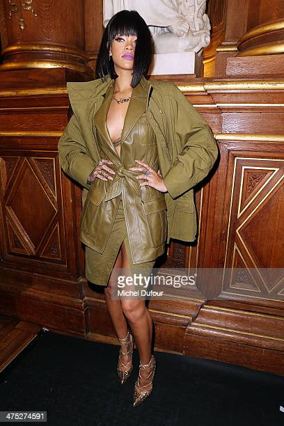 Rihanna attends the Balmain show as part of the Paris Fashion Week Womenswear Fall/Winter 20142015 on February 27 2014 in Paris France