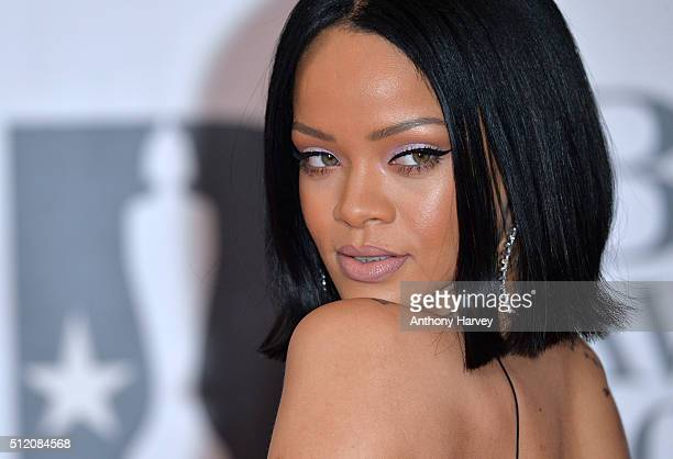 Rihanna attends the BRIT Awards 2016 at The O2 Arena on February 24 2016 in London England