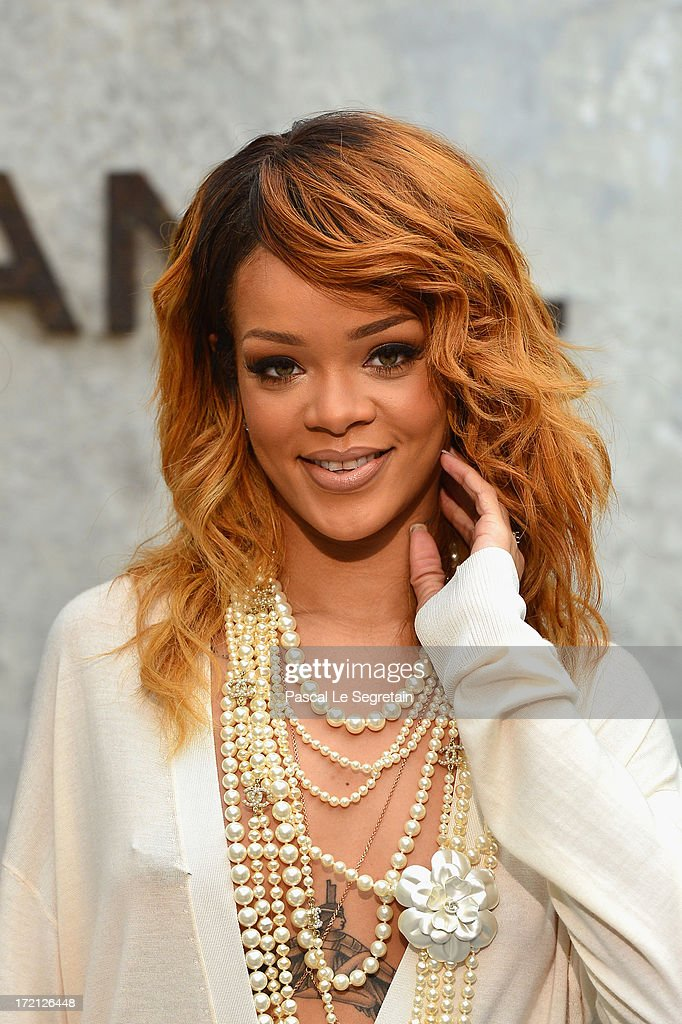 <a gi-track='captionPersonalityLinkClicked' href=/galleries/search?phrase=Rihanna&family=editorial&specificpeople=453439 ng-click='$event.stopPropagation()'>Rihanna</a> attends the Chanel show as part of Paris Fashion Week Haute-Couture Fall/Winter 2013-2014 at Grand Palais on July 2, 2013 in Paris, France.
