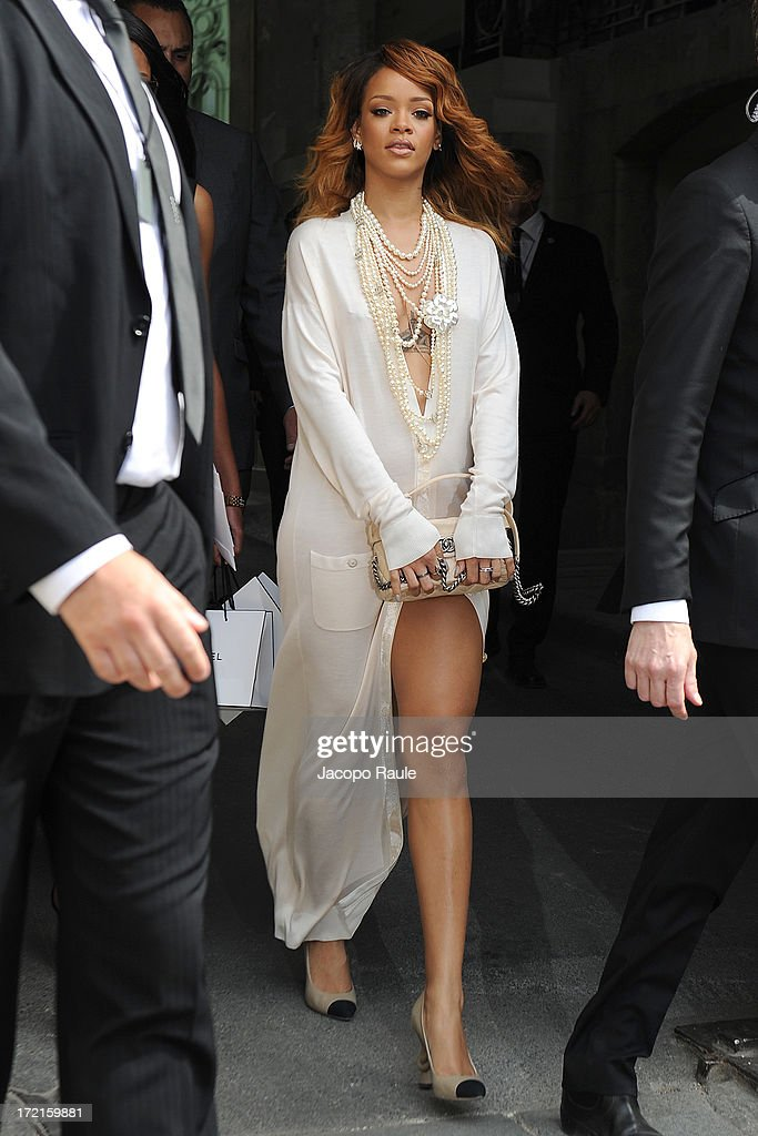 Rihanna attends the Chanel show as part of Paris Fashion Week Haute-Couture Fall/Winter 2013-2014 at Grand Palais on July 2, 2013 in Paris, France.
