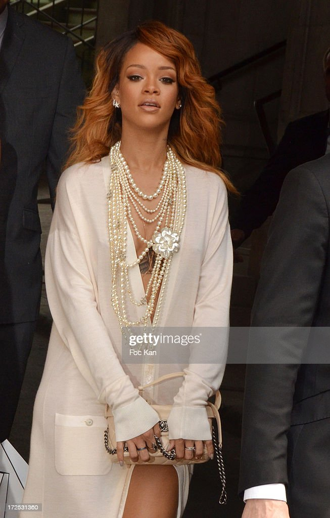Rihanna attends the Chanel show as part of Paris Fashion Week Haute-Couture Fall/Winter 2013-2014 at the Grand Palais on July 2, 2013 in Paris, France.