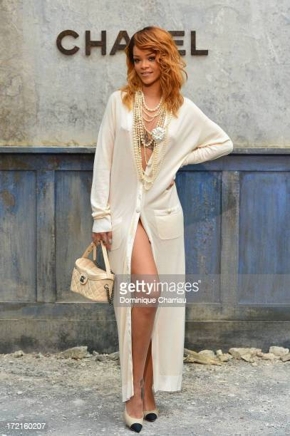 Rihanna attends the Chanel show as part of Paris Fashion Week Haute Couture Fall/Winter 20132014 at Grand Palais on July 2 2013 in Paris France