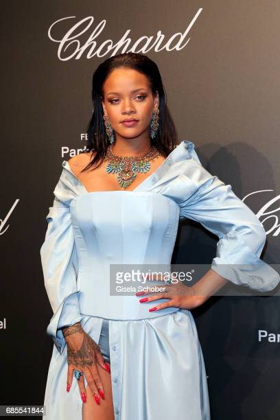 """Rihanna attends the Chopard """"SPACE Party"""" hosted by Chopard's copresident Caroline Scheufele and Rihanna at Port Canto on May 19 in Cannes France"""
