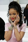 Rihanna attends the Christian Dior Cruise 2015 show at Brooklyn Navy Yard on May 7 2014 in the Brooklyn borough of Brooklyn City
