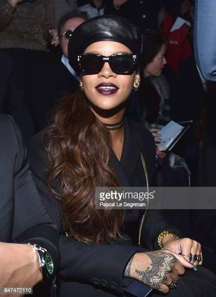 Rihanna attends the Christian Dior show as part of the Paris Fashion Week Womenswear Fall/Winter 2017/2018 on March 3 2017 in Paris France