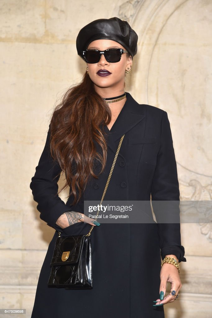 Rihanna attends the Christian Dior show as part of the Paris Fashion Week Womenswear Fall/Winter 2017/2018 at Musee Rodin on March 3, 2017 in Paris, France.