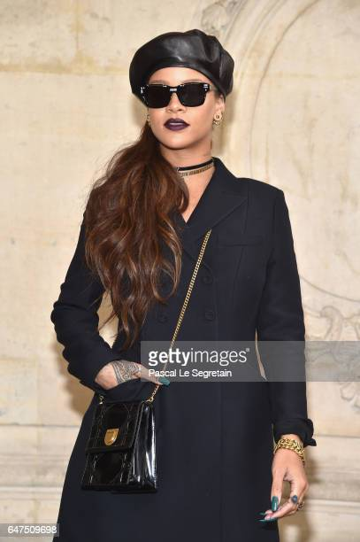 Rihanna attends the Christian Dior show as part of the Paris Fashion Week Womenswear Fall/Winter 2017/2018 at Musee Rodin on March 3 2017 in Paris...
