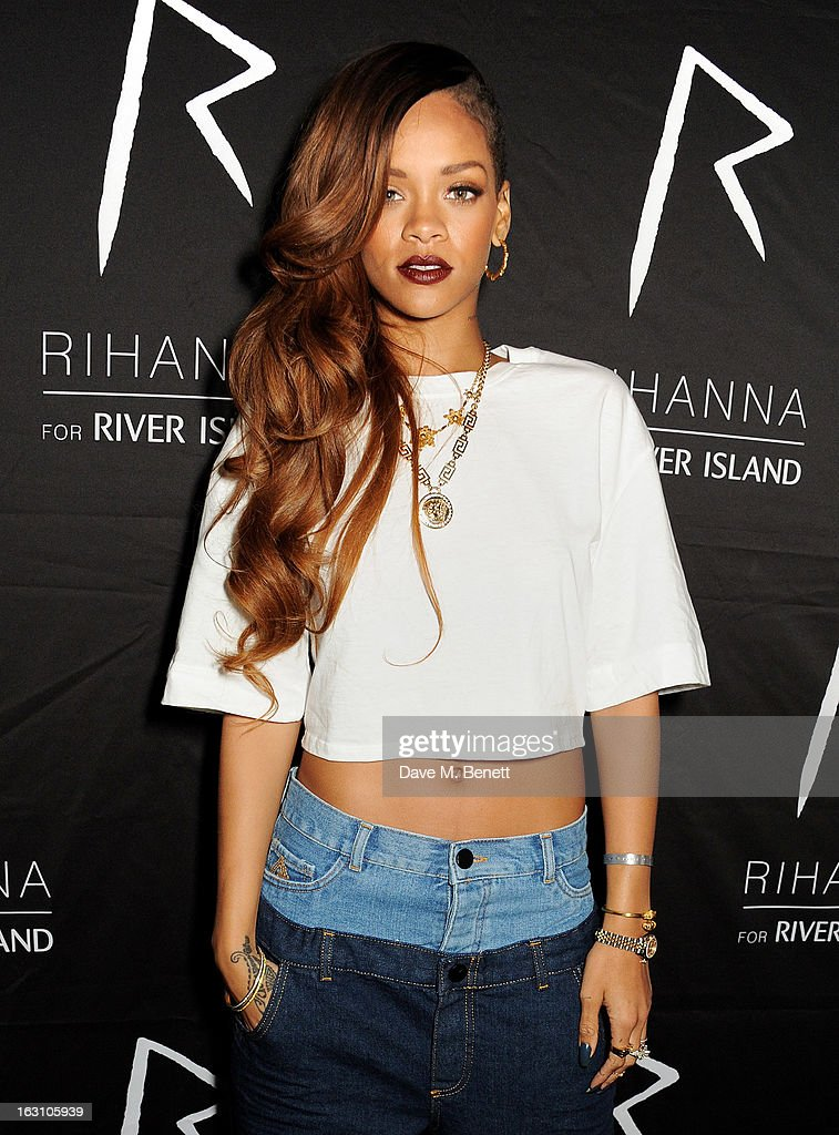 <a gi-track='captionPersonalityLinkClicked' href=/galleries/search?phrase=Rihanna&family=editorial&specificpeople=453439 ng-click='$event.stopPropagation()'>Rihanna</a> attends the exclusive after party following the launch of her <a gi-track='captionPersonalityLinkClicked' href=/galleries/search?phrase=Rihanna&family=editorial&specificpeople=453439 ng-click='$event.stopPropagation()'>Rihanna</a> For River Island collection at DSTRKT on March 4, 2013 in London, England.
