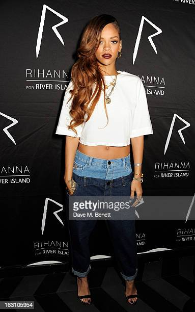 Rihanna attends the exclusive after party following the launch of her Rihanna For River Island collection at DSTRKT on March 4 2013 in London England