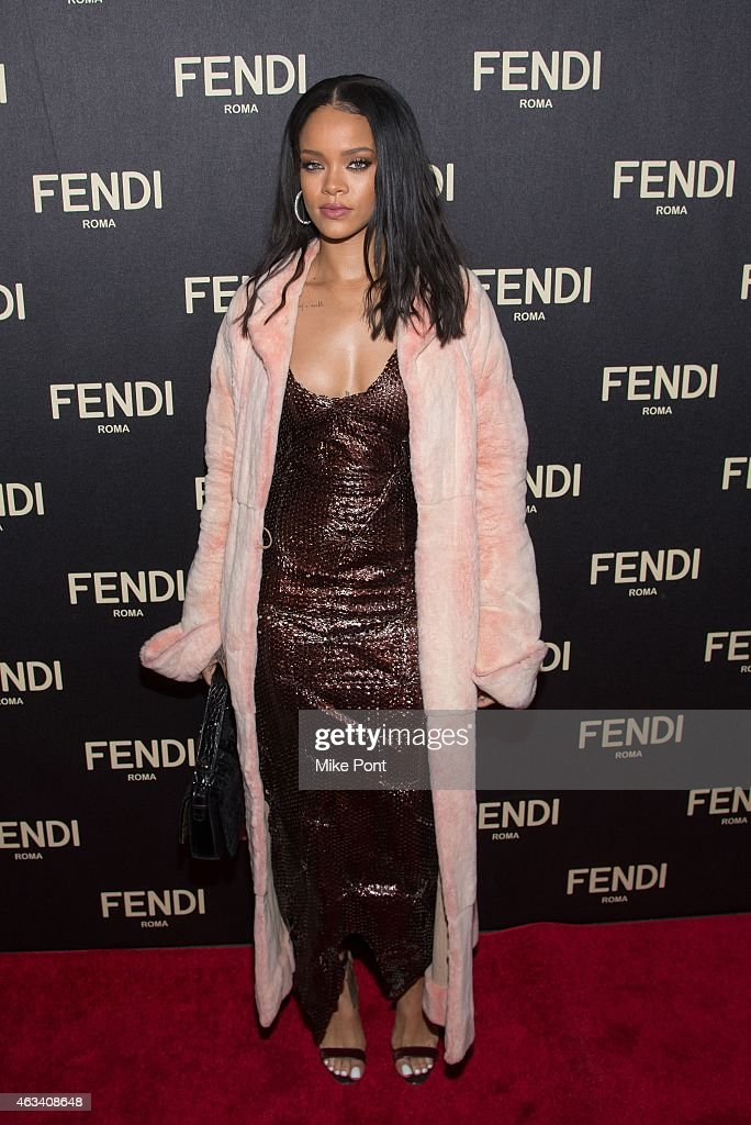 Rihanna attends the Fendi New York Flagship Boutique Inauguration Party during Mercedes Benz Fashion Week Fall 2015 at Fendi Madison Avenue on...