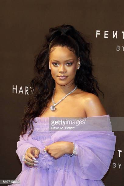 Rihanna attends the Fenty Beauty x Harvey Nichols Launch at Harvey Nichols on September 19 2017 in London England