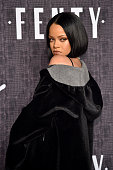 Rihanna attends the FENTY PUMA by Rihanna AW16 Collection during Fall 2016 New York Fashion Week at 23 Wall Street on February 12 2016 in New York...