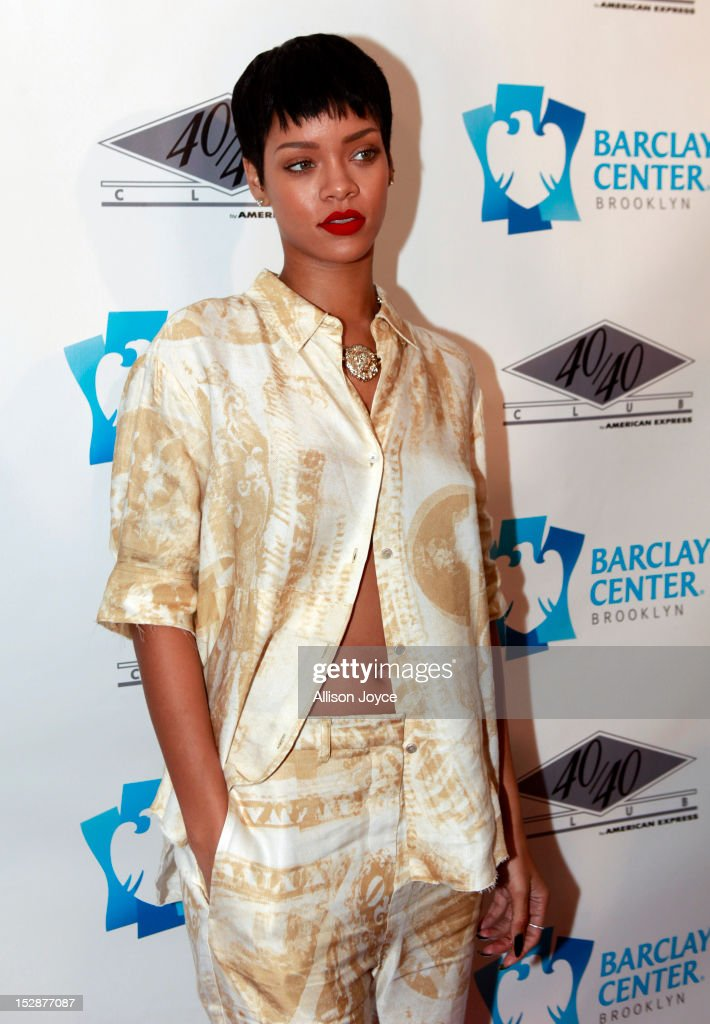 <a gi-track='captionPersonalityLinkClicked' href=/galleries/search?phrase=Rihanna&family=editorial&specificpeople=453439 ng-click='$event.stopPropagation()'>Rihanna</a> attends the grand opening of the 40/40 Club at Barclays Center on September 27, 2012 in the Brooklyn borough of New York City.