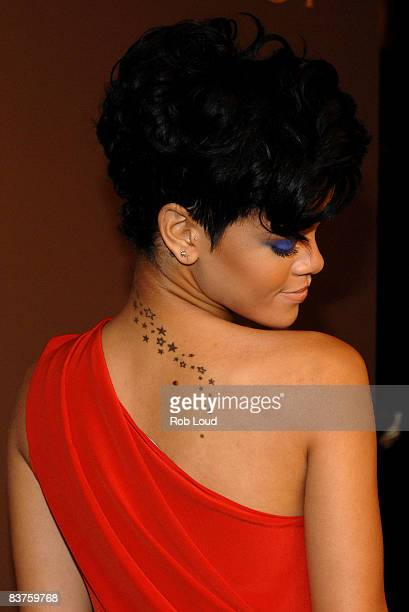Rihanna attends the launch of Gucci's Tattoo Heart Collection to benefit UNICEF at Gucci's 5th Avenue store on November 19 2008 in New York City