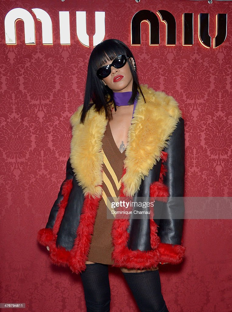 Rihanna attends the Miu Miu show as part of the Paris Fashion Week Womenswear Fall/Winter 2014-2015 on March 5, 2014 in Paris, France.