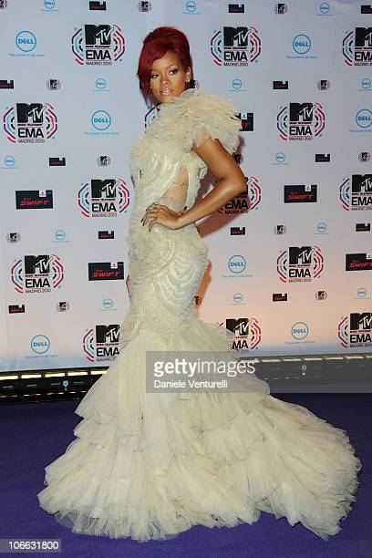 Rihanna attends the MTV Europe Music Awards 2010 at La Caja Magica on November 7 2010 in Madrid Spain