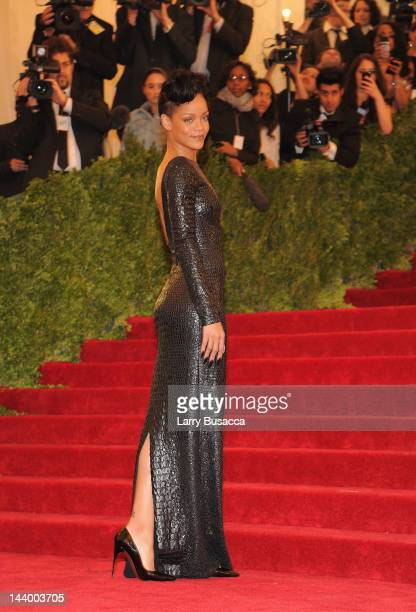 Rihanna attends the 'Schiaparelli And Prada Impossible Conversations' Costume Institute Gala at the Metropolitan Museum of Art on May 7 2012 in New...