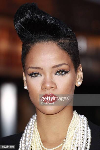 Rihanna attends the UK Premiere of 'Inglourious Basterds' at Odeon Leicester Square on July 23 2009 in London England