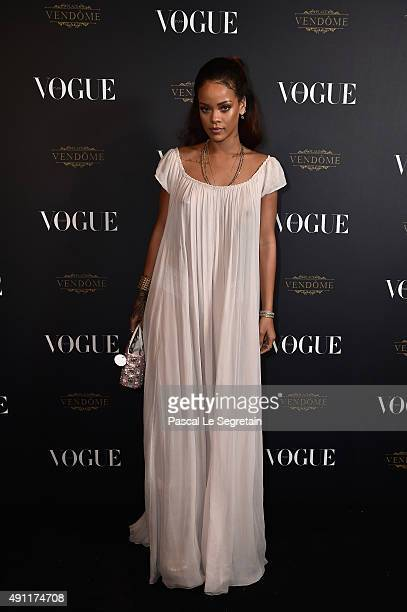 Rihanna attends the Vogue 95th Anniversary Party on October 3 2015 in Paris France