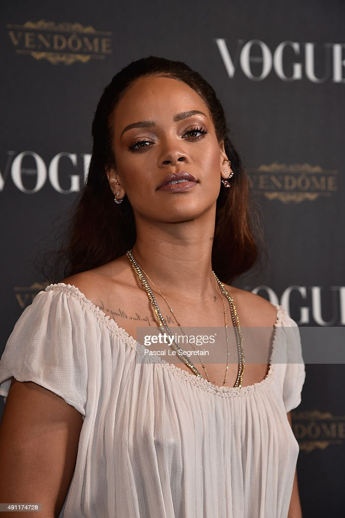 <a gi-track='captionPersonalityLinkClicked' href=/galleries/search?phrase=Rihanna&family=editorial&specificpeople=453439 ng-click='$event.stopPropagation()'>Rihanna</a> attends the Vogue 95th Anniversary Party on October 3, 2015 in Paris, France.