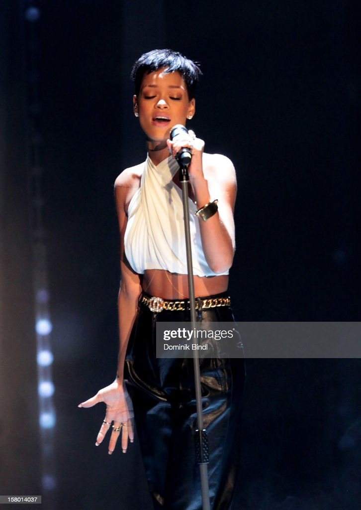 <a gi-track='captionPersonalityLinkClicked' href=/galleries/search?phrase=Rihanna&family=editorial&specificpeople=453439 ng-click='$event.stopPropagation()'>Rihanna</a> attends 'Wetten dass..?' From Freiburg on December 8, 2012 in Freiburg im Breisgau, Germany.