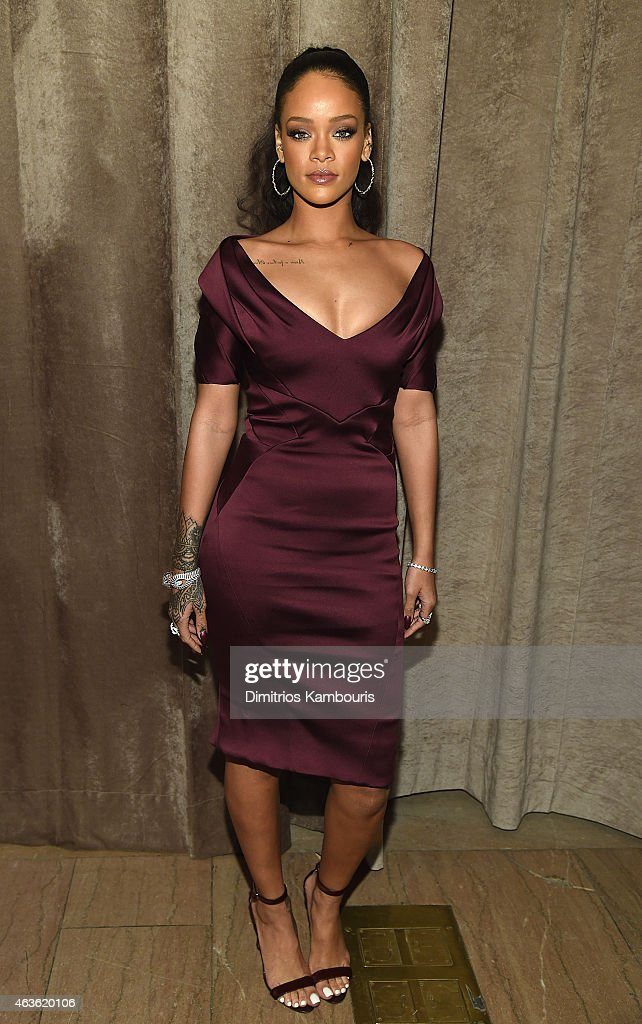 <a gi-track='captionPersonalityLinkClicked' href=/galleries/search?phrase=Rihanna&family=editorial&specificpeople=453439 ng-click='$event.stopPropagation()'>Rihanna</a> attends Zac Posen - Front Row & Backstage - Mercedes-Benz Fashion Week Fall 2015 at Vanderbilt Hall at Grand Central Terminal on February 16, 2015 in New York City.