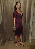 Rihanna attends Zac Posen Front Row Backstage MercedesBenz Fashion Week Fall 2015 at Vanderbilt Hall at Grand Central Terminal on February 16 2015 in...