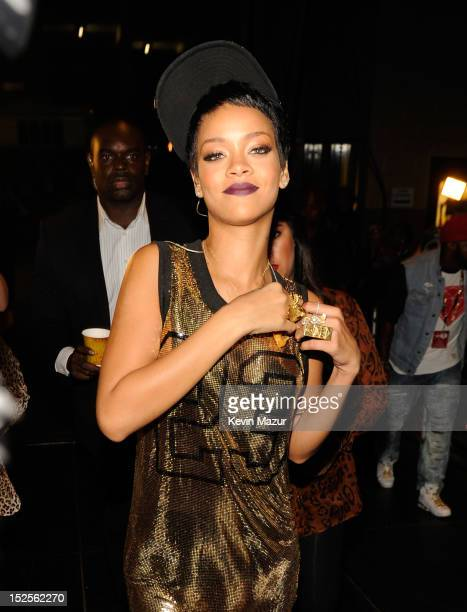 Rihanna backstage during the 2012 iHeartRadio Music Festival at MGM Grand Garden Arena on September 21 2012 in Las Vegas Nevada