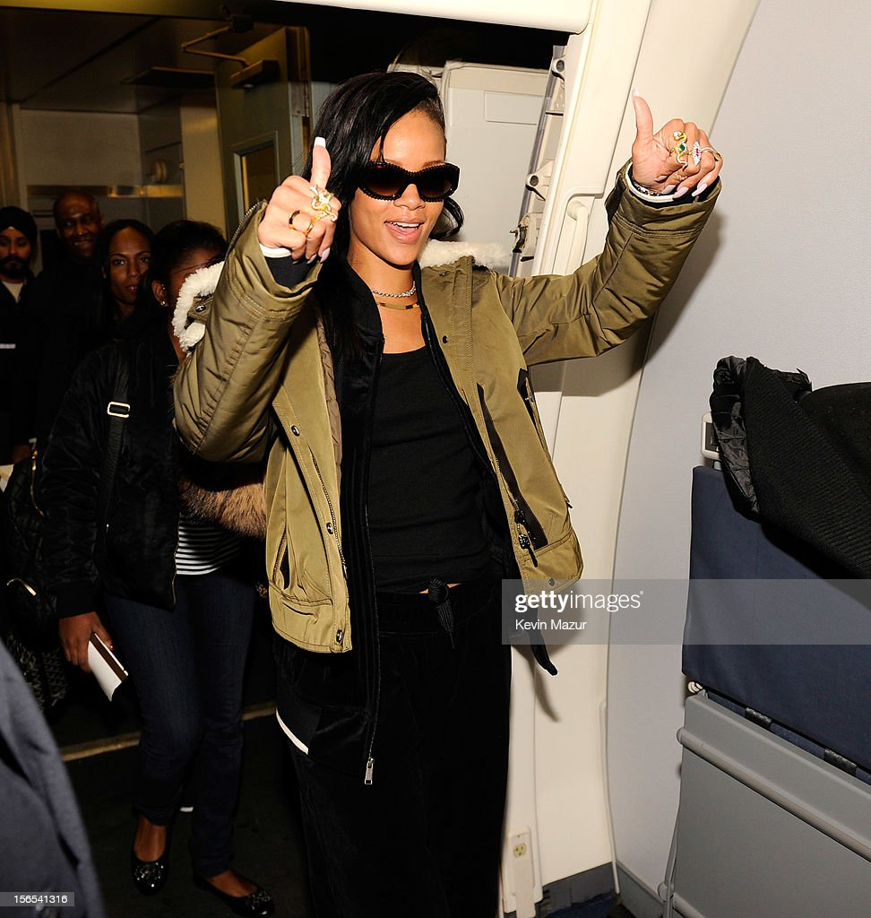 Rihanna boards her plane following her show at The Danforth on November 15, 2012 in Toronto, Ontario. Rihanna's 777 Tour - 7 countries, 7 days, 7 shows in celebration of the November 19, 2012 release of 'Unapologetic.'