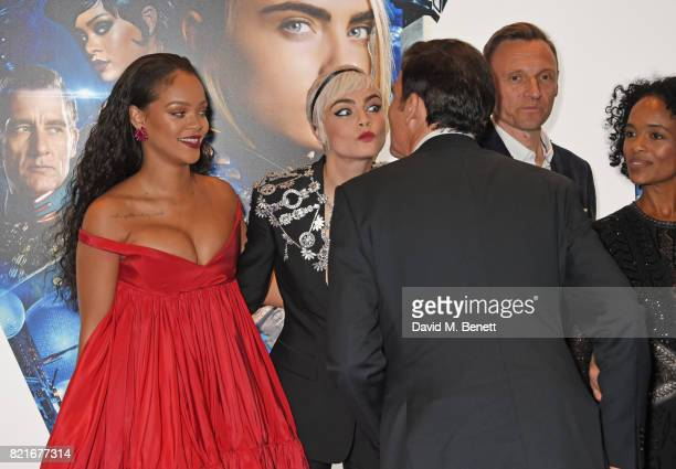 Rihanna Cara Delevingne Clive Owen Zygi Kamasa and producer Virginie BessonSilla attend the European Premiere of 'Valerian And The City Of A Thousand...