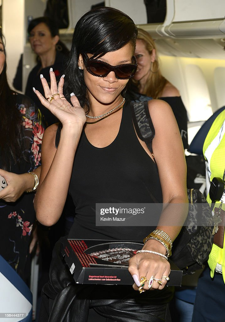 Rihanna greets guests on the plane to her first stop on the 777 tour on November 14, 2012. Rihanna's 777 Tour - 7 countries, 7 days, 7 shows in celebration of the November 19, 2012 release of 'Unapologetic.'