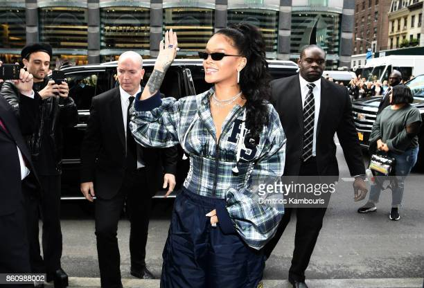 Rihanna hosts a pep rally to celebrate the launch of the AW17 FENTY PUMA by Rihanna collection at Bloomingdales on 59th Street on October 13 2017 in...