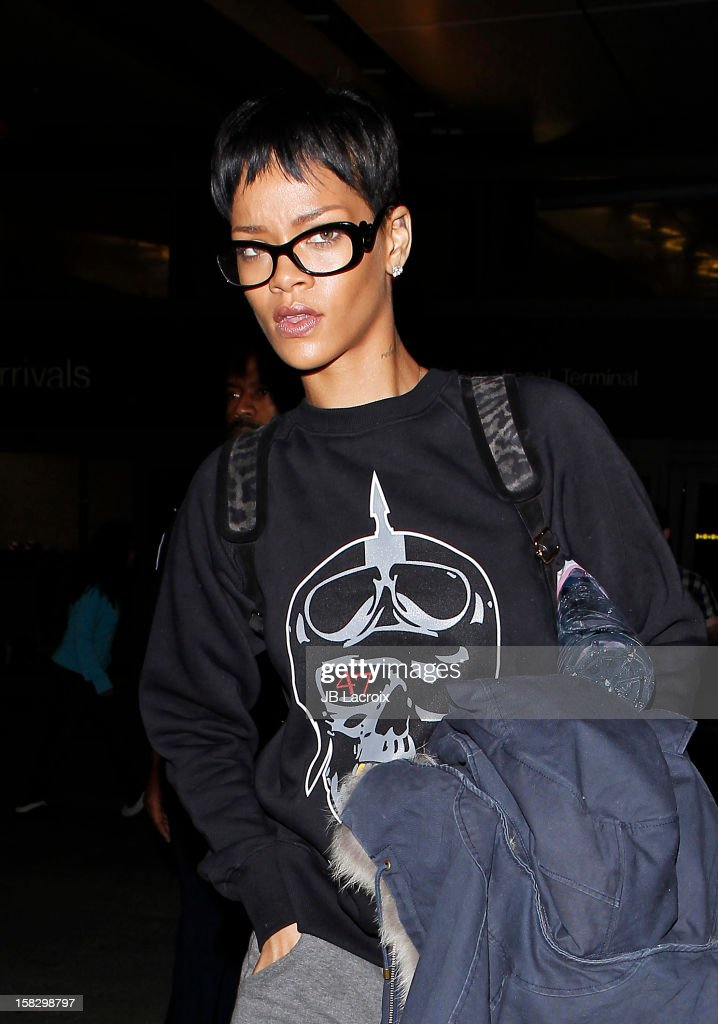 Rihanna is seen at LAX Airport on December 12, 2012 in Los Angeles, California.