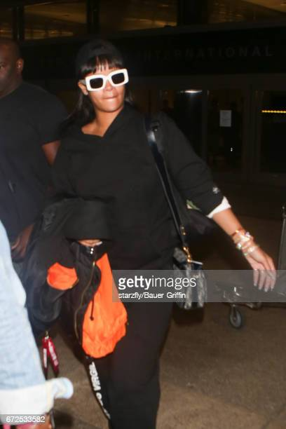 Rihanna is seen at LAX on April 24 2017 in Los Angeles California