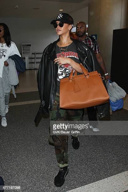 Rihanna is seen at LAX on June 14 2015 in Los Angeles California