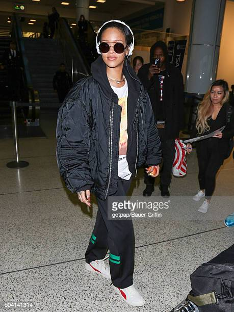 Rihanna is seen at Los Angeles International Airport on January 08 2016 in Los Angeles California