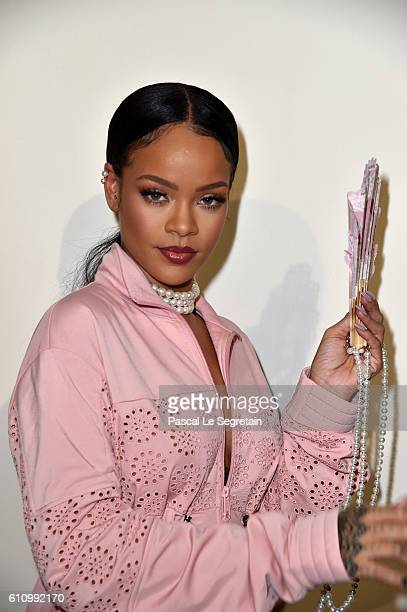 Rihanna is seen backstage during FENTY x PUMA by Rihanna at Hotel Salomon de Rothschild on September 28 2016 in Paris France