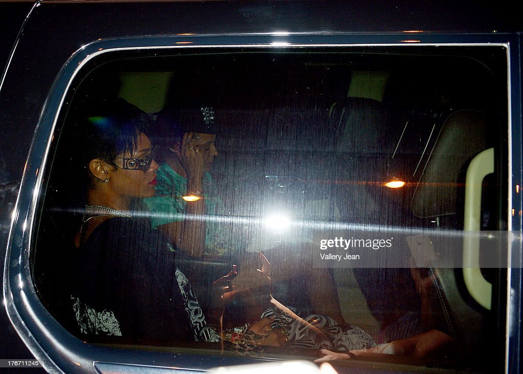 Rihanna is seen leaving the Official Legends of The Summer after party at Mansion Nightclub on August 16, 2013 in Miami Beach, Florida.