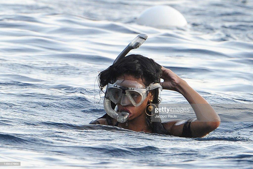 Rihanna is seen snorkeling on July 28, 2012 in Portofino, Italy.