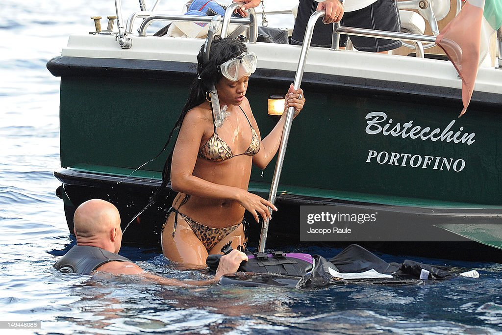 Rihanna is seen snorkeling on July 28, 2012 in Portofino, Italy.